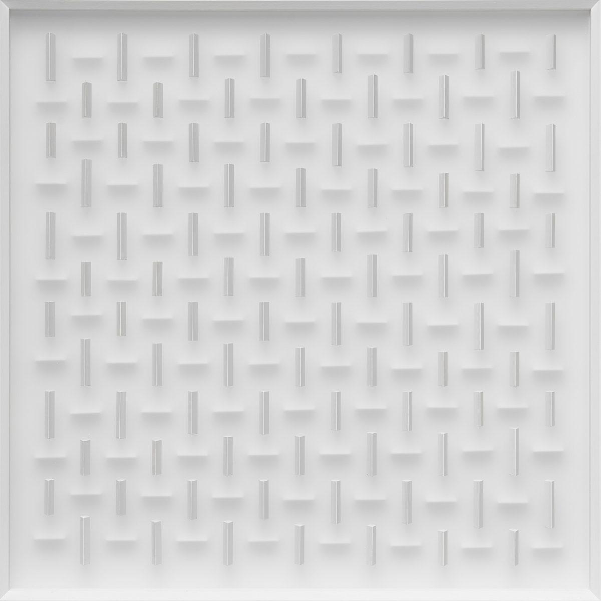 02 Klaus Staudt, Aussichten, 2018, 70 x 70 x 8cm, Holz, Acrylfarbe, Plexiglas; Foto: Norbert Miguletz