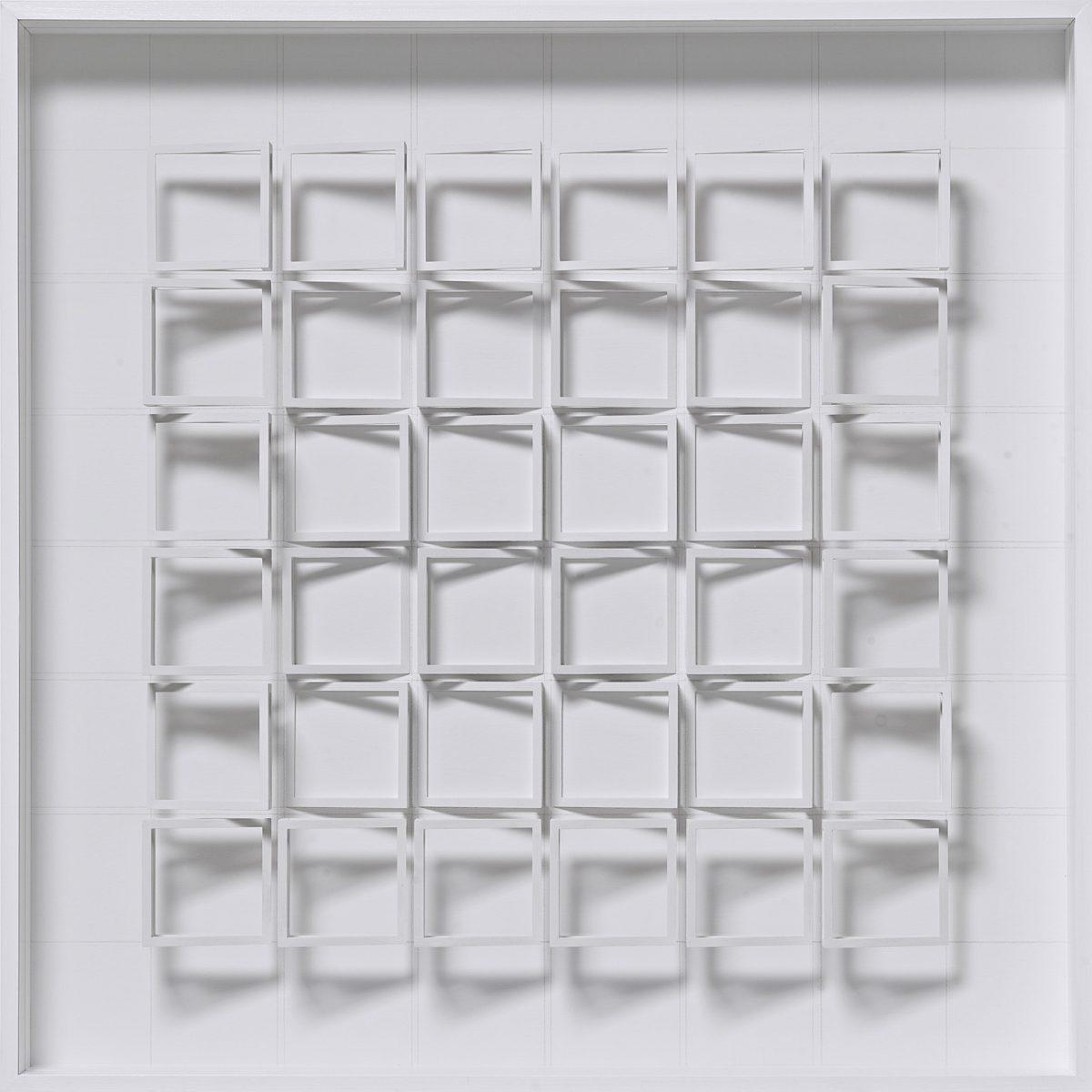 06 Klaus Staudt, Mitte, 2010, 72 x 72 x 10cm, Holz, Acrylfarbe, Plexiglas, Bleistift; Foto: Norbert Miguletz