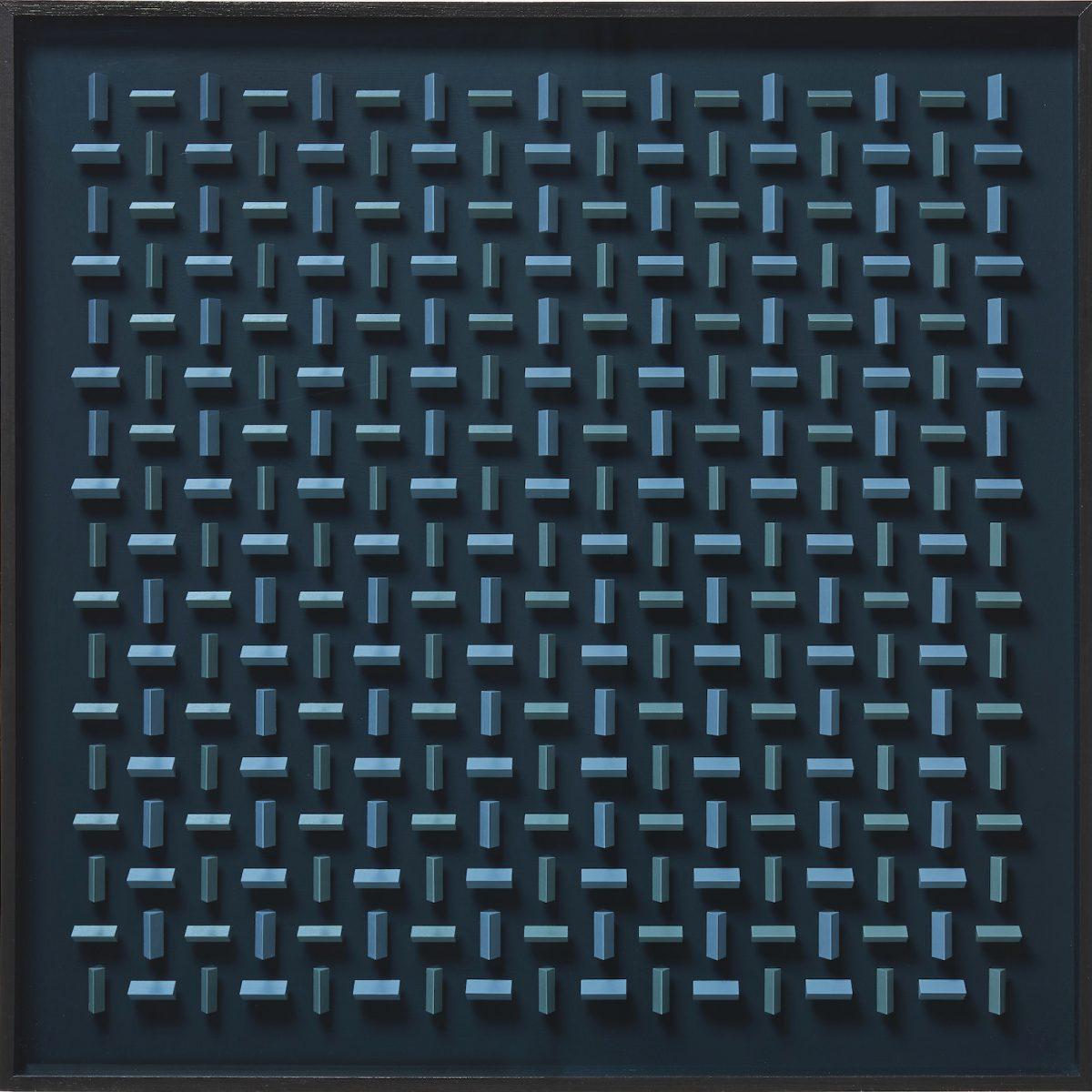 10 Klaus Staudt, Wechsel, 2019, 85 x 85 x 7cm, Holz, Acrylfarbe, Plexiglas; Foto: Norbert Miguletz