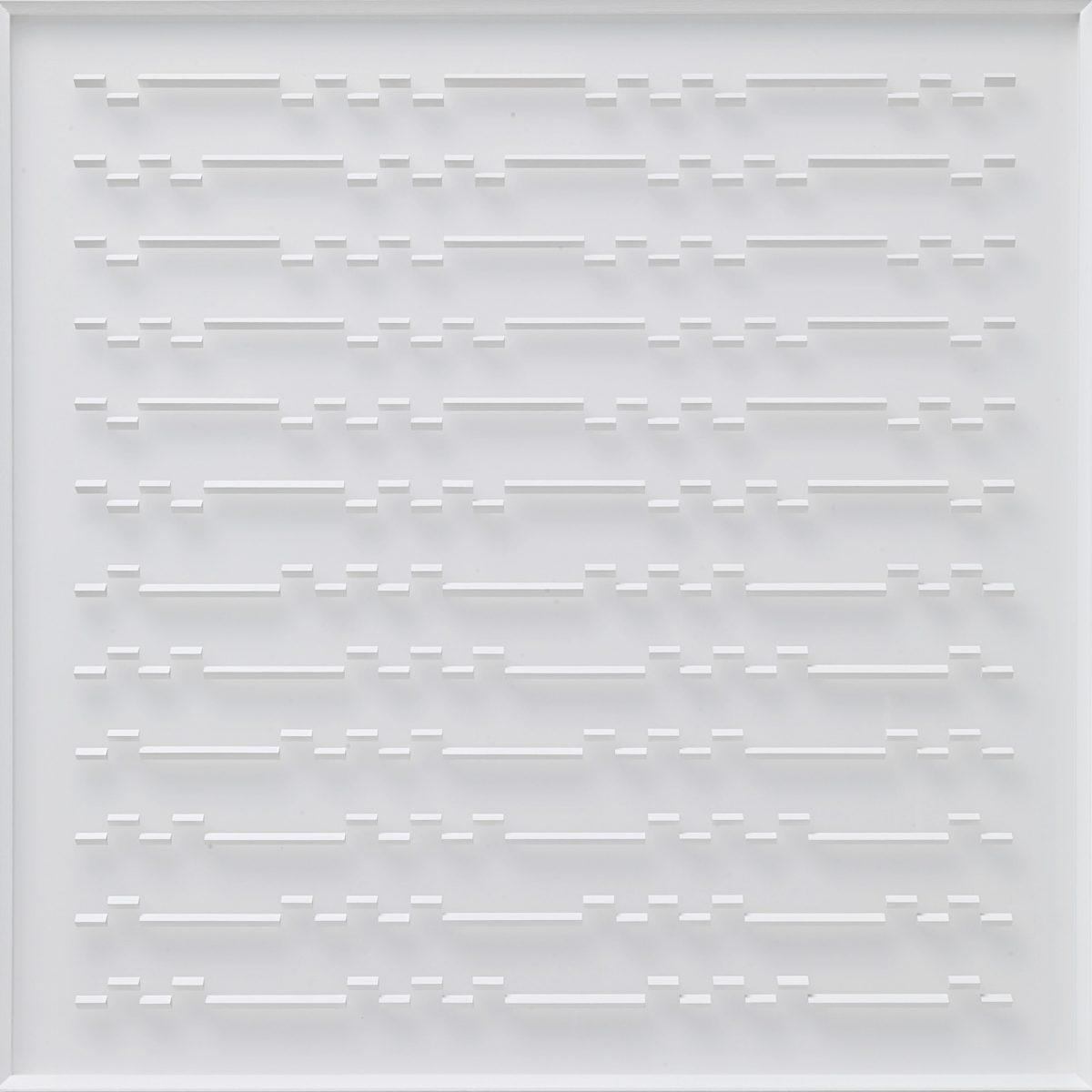 16 Klaus Staudt, Gezeiten, 2014, 85 x 85 x 5,7 cm, Holz, Acrylfarbe, Plexiglas; Foto: Norbert Miguletz