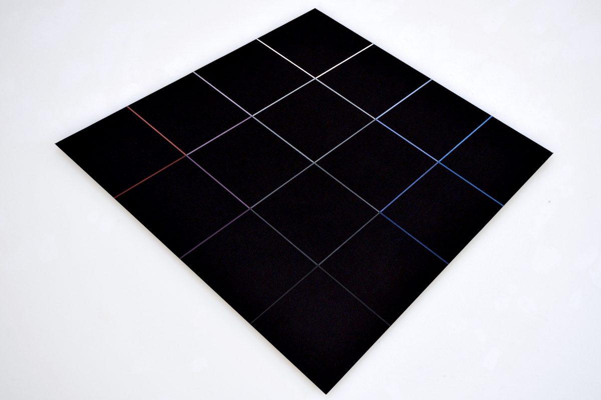 """Hans Jörg Glattfelder, """"Gradierung mit großem Rot"""", 2005, Acryl auf Leinwand auf Holz, 105 x 135 cm, Foto: Galerie Geiger"""