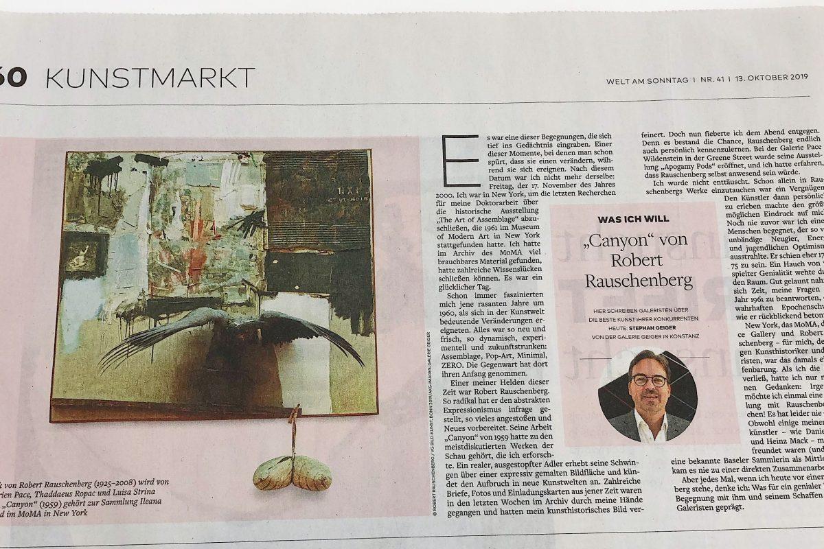 """Kolumne von Stephan Geiger in der """"Welt am Sonntag"""""""