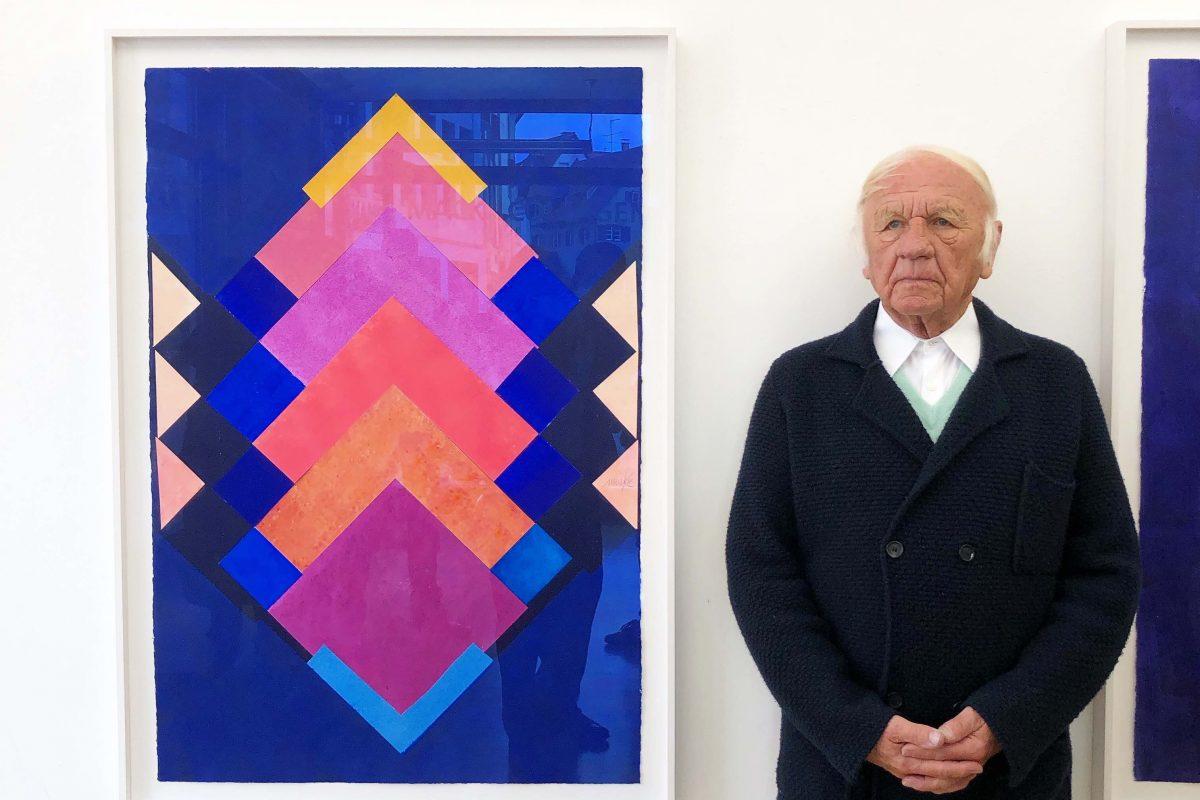 Heinz Mack bei der Vernissage in der Galerie Geiger