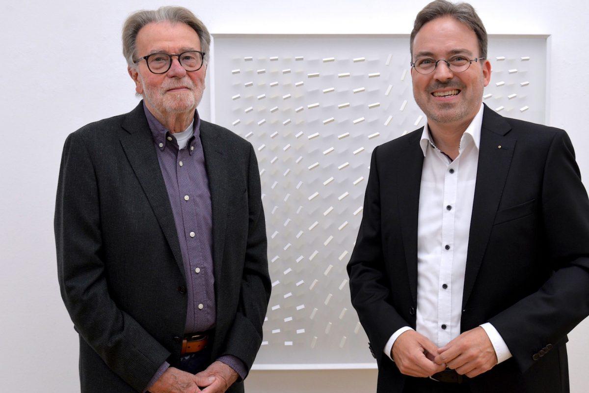 Klaus Staudt und Stephan Geiger 2018 in der Galerie Geiger.