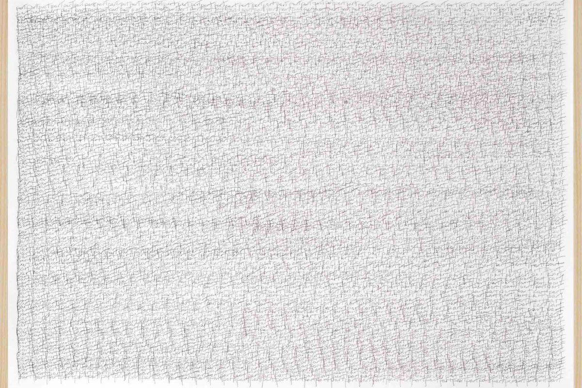 herman de vries, part, 2017, Bleistift auf Papier, 63,1 x 88,2 cm - zu sehen am Stand der Galerie Geiger H2/D11